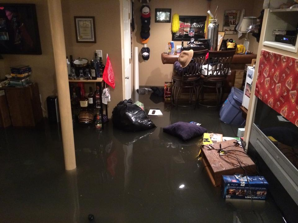 Our basement flooded with sewage send drinks for Sewer backup smell in house